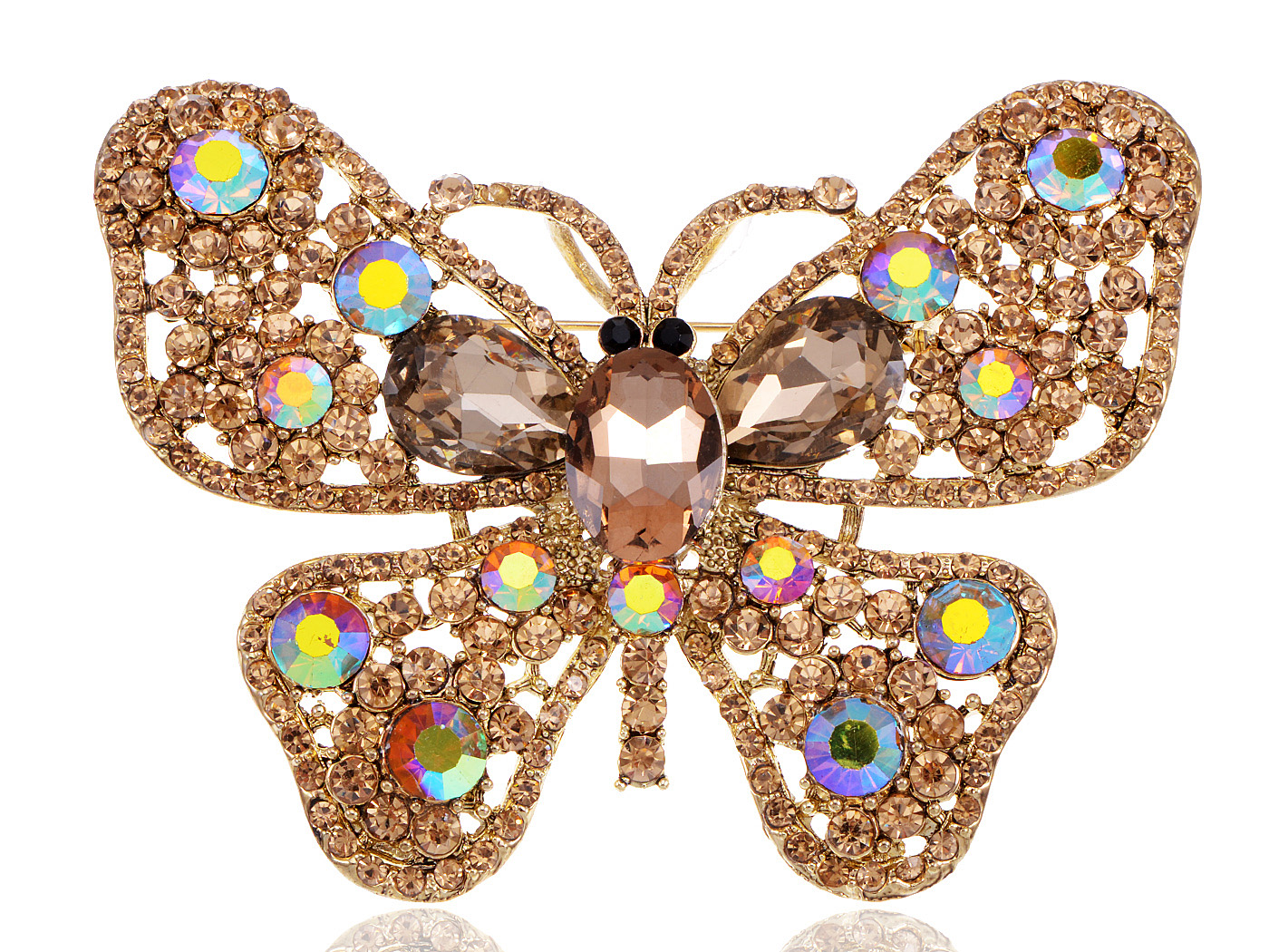 XL Brilliant Element Jewelry Topaz Crystal Rhinestone Butterfly Brooch by