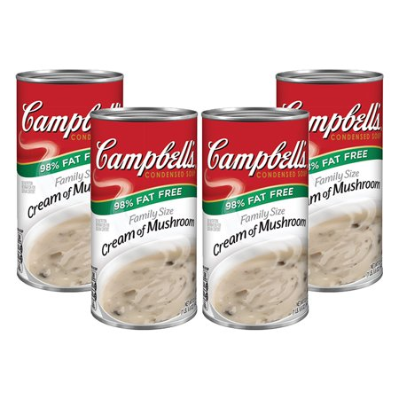 (3 Pack) Campbell's Condensed Family Size 98% Fat Free Cream of Mushroom Soup, 22.6 oz.