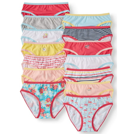 Wonder Nation Girls' Underwear Cotton Bikini Panties, 14 Pack (Little Girls' & Big Girls')