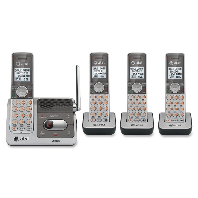 AT&T CL82401 DECT 6.0 Expandable Cordless Phone with Answering System and Caller ID/Call Waiting, Silver, 4 Handsets - C