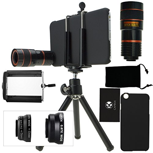 CamKix Camera Lens Kit for iPhone 6 Plus / 6S Plus (NOT FOR IPHONE 6) including an 8x Telephoto Lens / Fisheye Lens / 2in1 Macro and Wide Angle Lens / Tripod / Holder / Case / Bag / Cloth