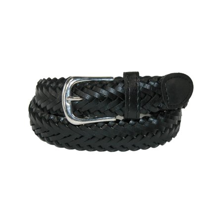 Size Medium Boys Leather 3/4 Inch Adjustable Braided Dress Belt, Black Braided Edge Leather Belt