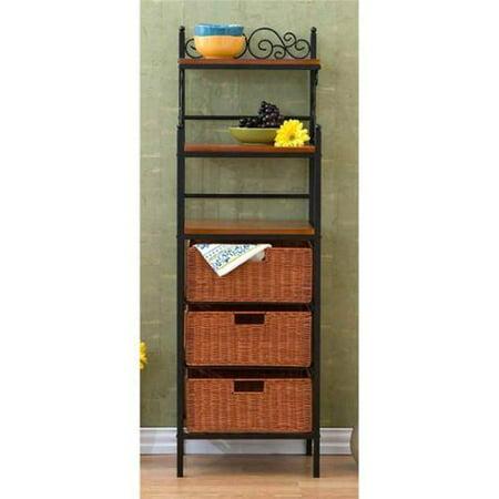 manilla 3 drawer bakers rack black w brown. Black Bedroom Furniture Sets. Home Design Ideas