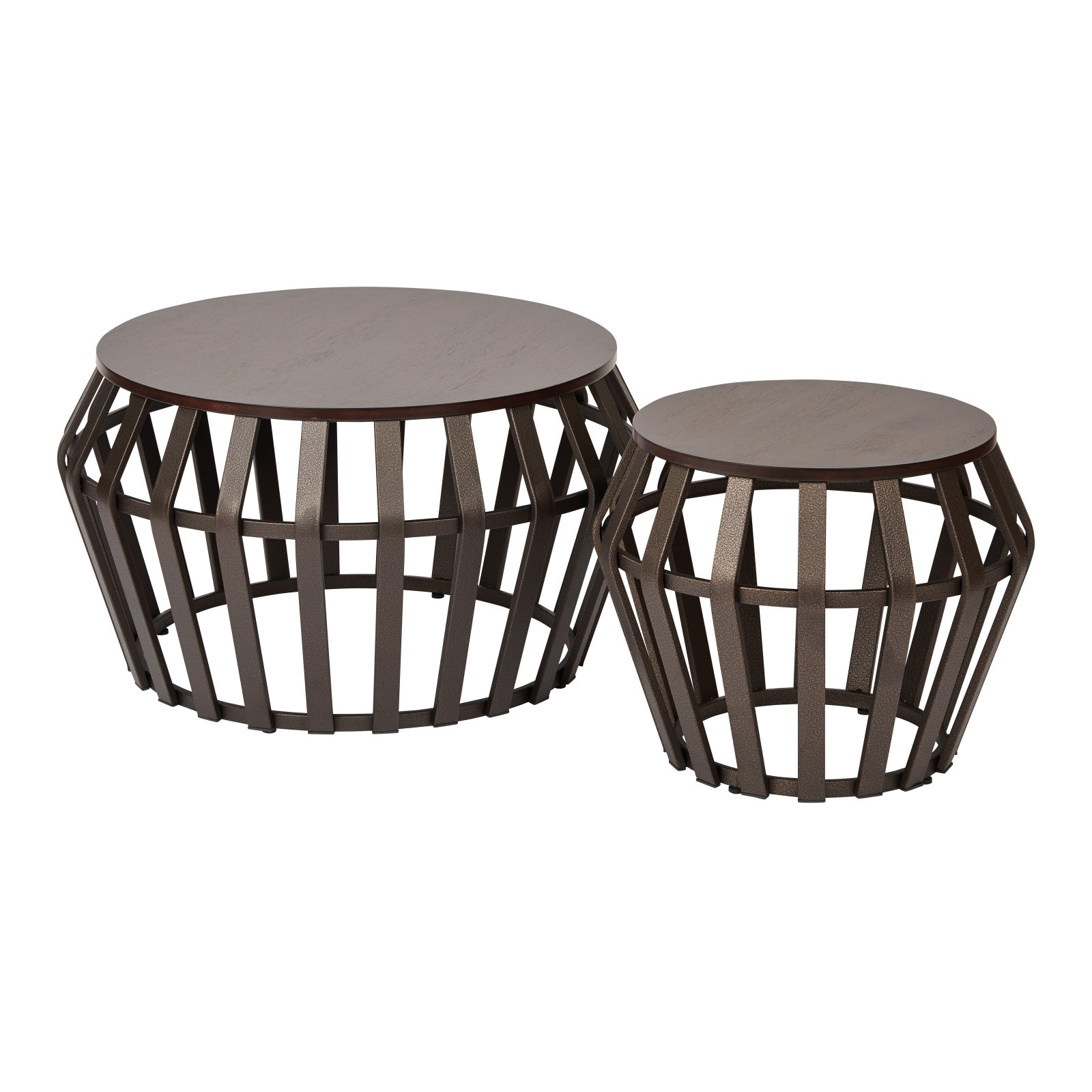 OSP Designs Solana Round Drum Accent Tables Set of 2 by Generic
