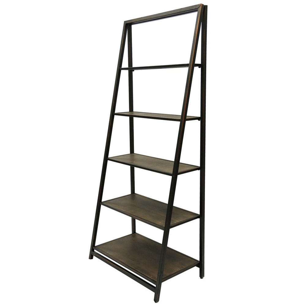 StyleCraft Metal and Wood 5 Tier Leaning Bookcase Home Accent Decorative Shelf