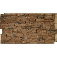 """48""""W x 24""""H x 1 1/4""""D Canyon Ridge Stacked Stone, StoneWall Faux Stone Siding Panel, Canyon Brown"""