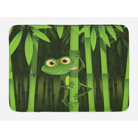 Animal Bath Mat, Funny Illustration of Friendly Fun Frog on Stem of the Bamboo Jungle Trees Cute Nature, Non-Slip Plush Mat Bathroom Kitchen Laundry Room Decor, 29.5 X 17.5 Inches, Green, Ambesonne