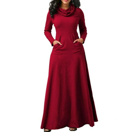 Womens Long Sleeve Dress Pullover Jumper Long Skirt Cowl Neck Casual Party Pleated Maxi Robes