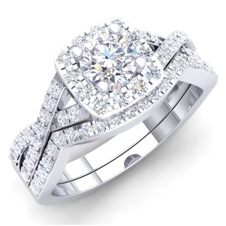 1.55 Carat (ctw) 10K White Gold Round Cut Cubic Zirconia CZ Bridal Halo Engagement Ring Set 1 1/2 CT