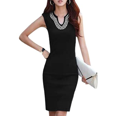 Women's Sleeveless Split Neck Beads Unlined Casual Sheath Dress Black (Size XL / 16) (Black Beaded Flapper Dress)