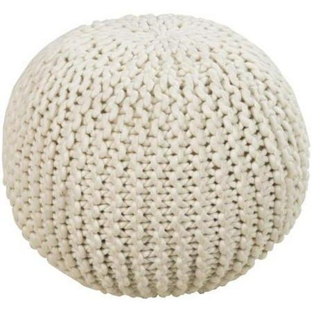 18 light taupe ball of yarn wool round pouf ottoman. Black Bedroom Furniture Sets. Home Design Ideas