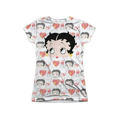 Betty Boop Cartoon Faces Hearts Lipstick Juniors Front/Back Print (Seibon Front Lip)