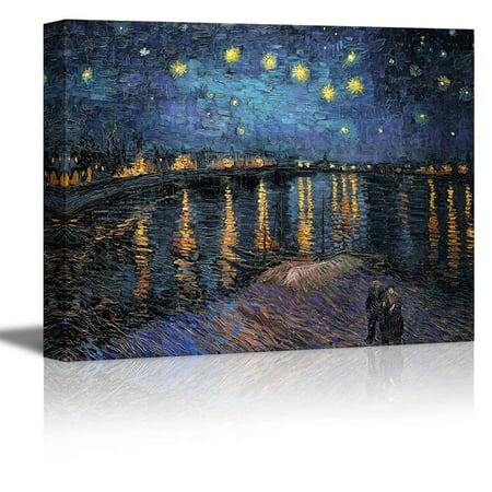 wall26 Starry Night Over The Rhone Vincent Van Gogh - Oil Painting Reproduction on Canvas Prints Wall Art, Ready to Hang - 12x18