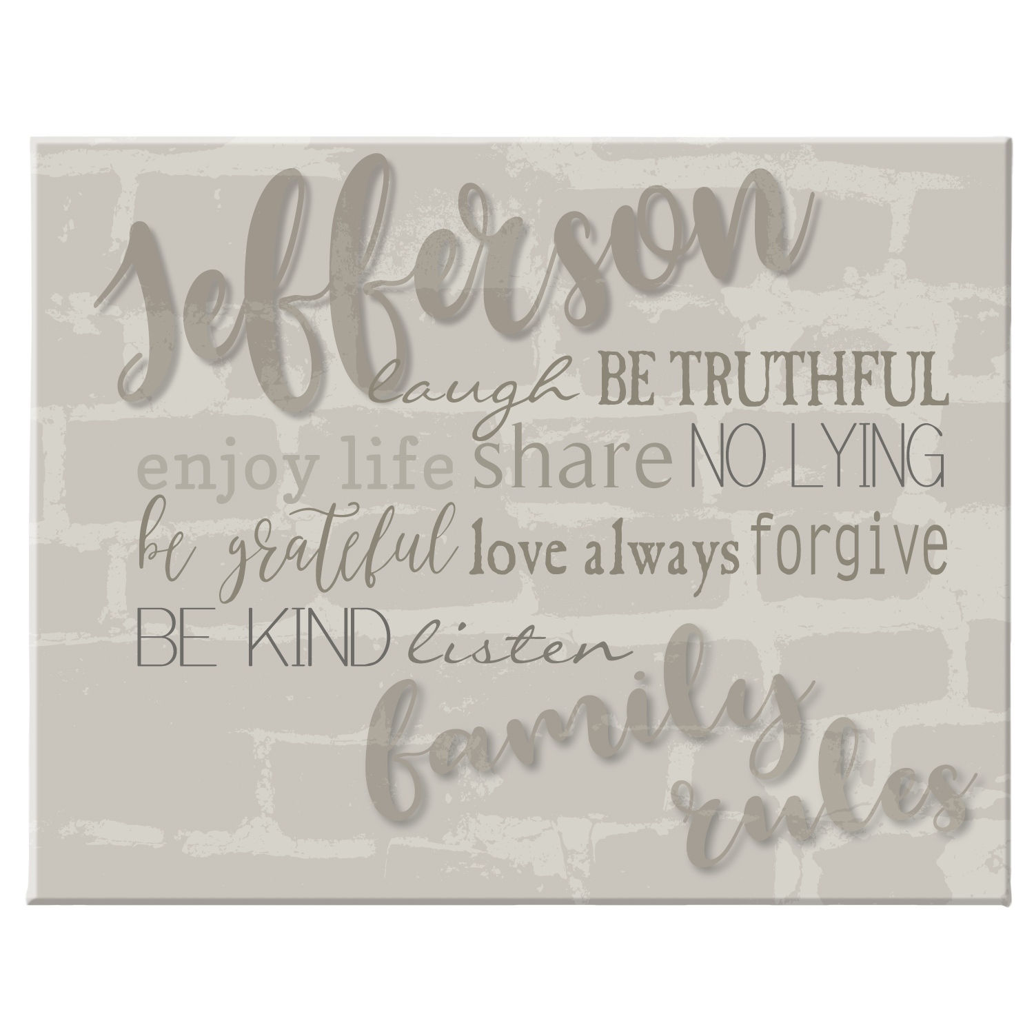 Personalized Modern Family Rules Canvas - Available in 3 Colors and 2 Size Options