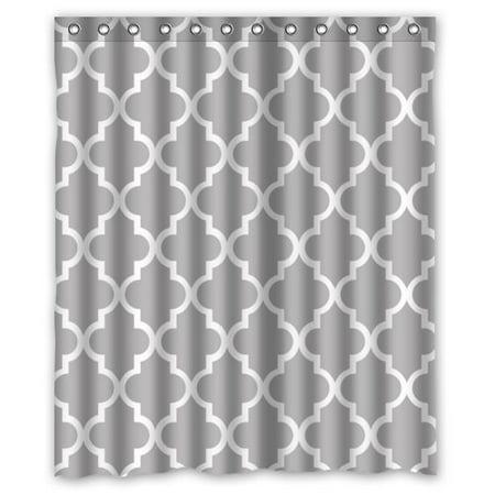Greendecor quatrefoil grey and white lattice waterproof for Quatrefoil bathroom decor