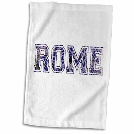 3dRose Rome text - blue word art on white made from vintage Italian map - city souvenir - Italy - dark navy - Towel, 15 by