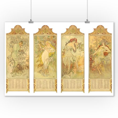 Four Seasons Vintage Poster (artist: Mucha, Alphonse) France c. 1900 (9x12 Art Print, Wall Decor Travel Poster)