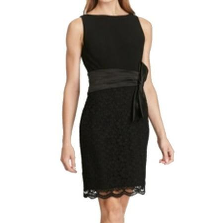 American Living NEW Black Womens Size 14 Scallop Hem Lace Sheath Dress