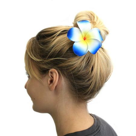 Hawaiian Foam (Hawaii Luau Party Dance Artificial Foam Plumeria Hair Pin Single Blue, Large )
