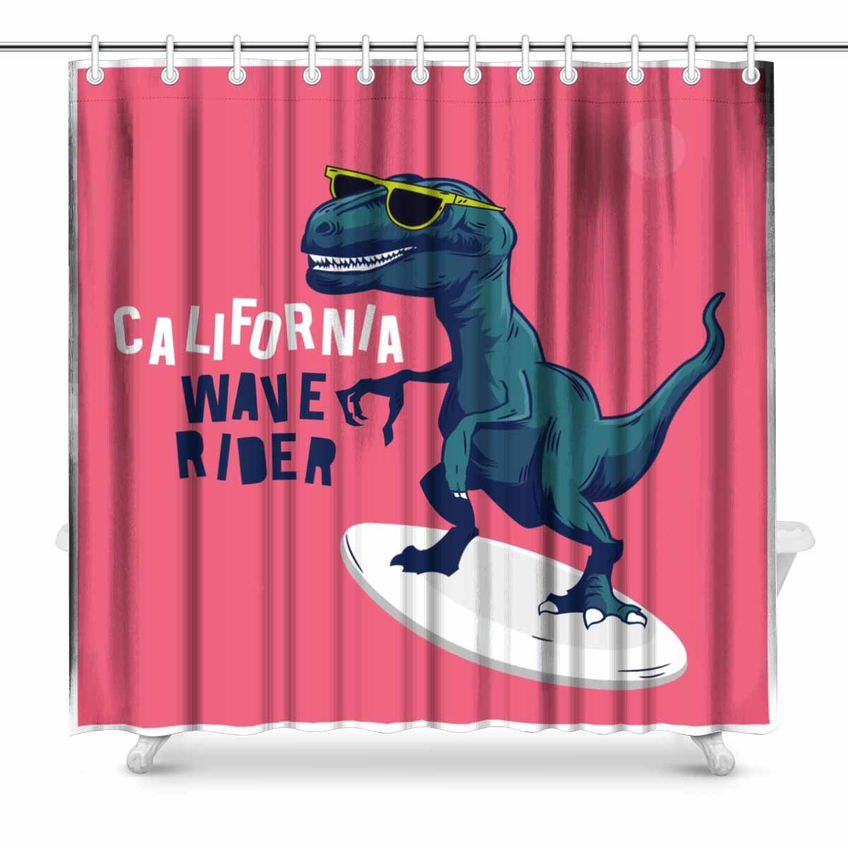 Mkhert Surfer Dinosaur Shower Curtain Home Decor Bathroom Shower Curtain 66x72 Inch