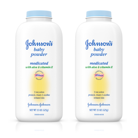 (2 pack) Johnson's Baby Powder With Aloe Vera & Vitamin E For After Bath, 15 Oz. - Non Talc Powder