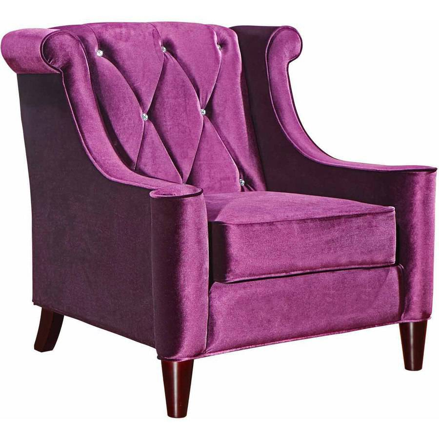 Armen Living Barrister Chair, Purple Velvet with Crystal Buttons
