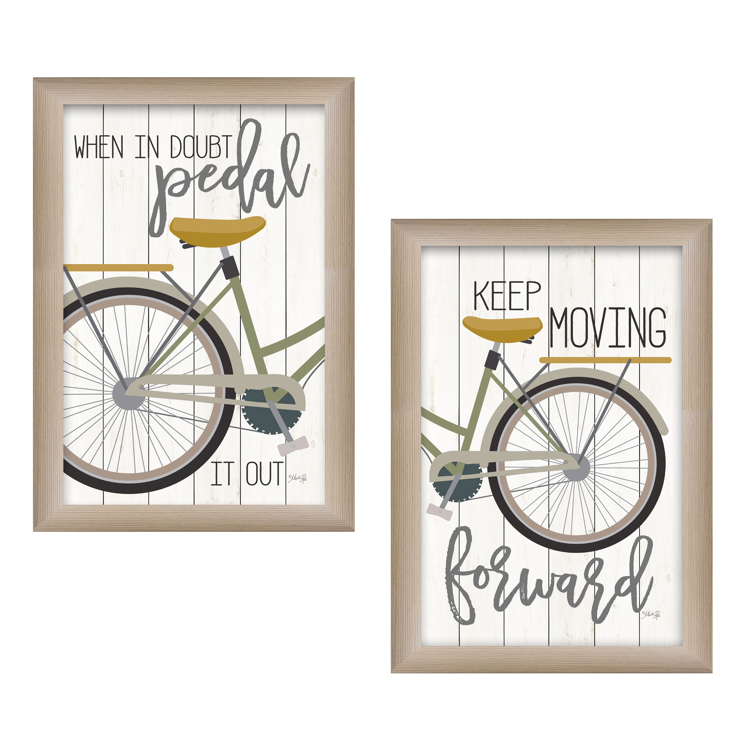 """""""Pedal it Out"""" 2-Piece bicycle Vignette by Marla Rae, Beige Frame"""