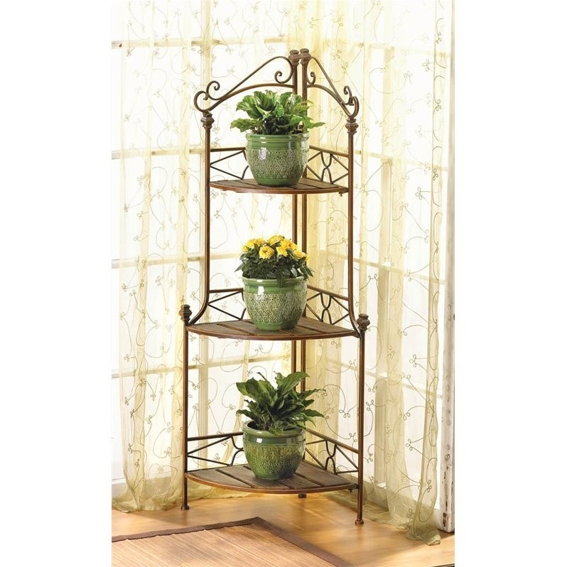Zingz and Thingz Rustic Corner Bakers Rack