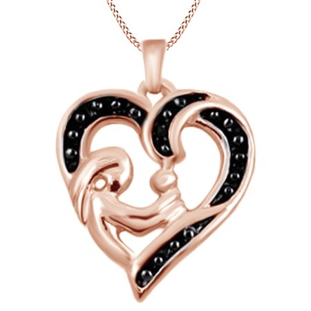 0.01 Ct Black Diamond Accent Mom And Child Heart Pendant In 925 Sterling Silver For Mother's Day By Jewel Zone US