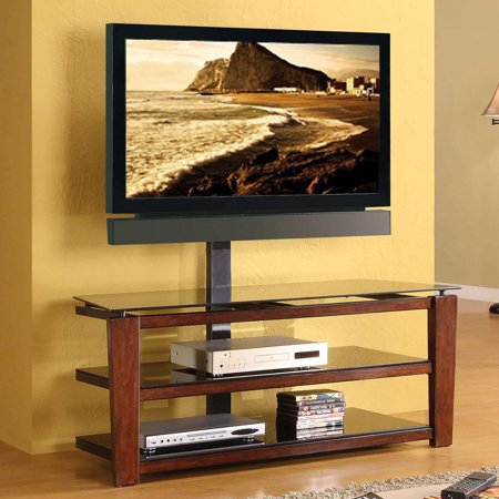 Whalen Swivel 3 In 1 Tv Stand For Tvs Up To 60 Brown Cherry Finish