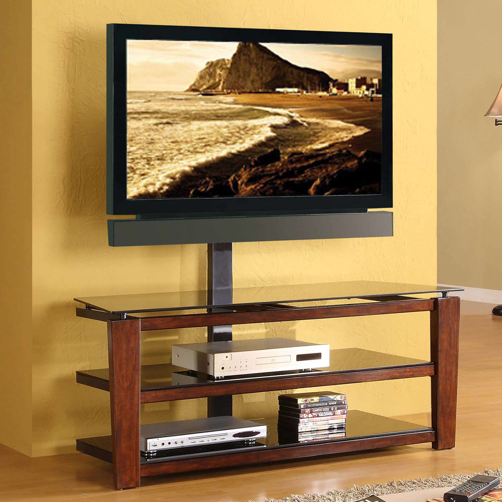 "Whalen Swivel 3-in-1 TV Stand for TVs up to 60"", Brown Cherry Finish"