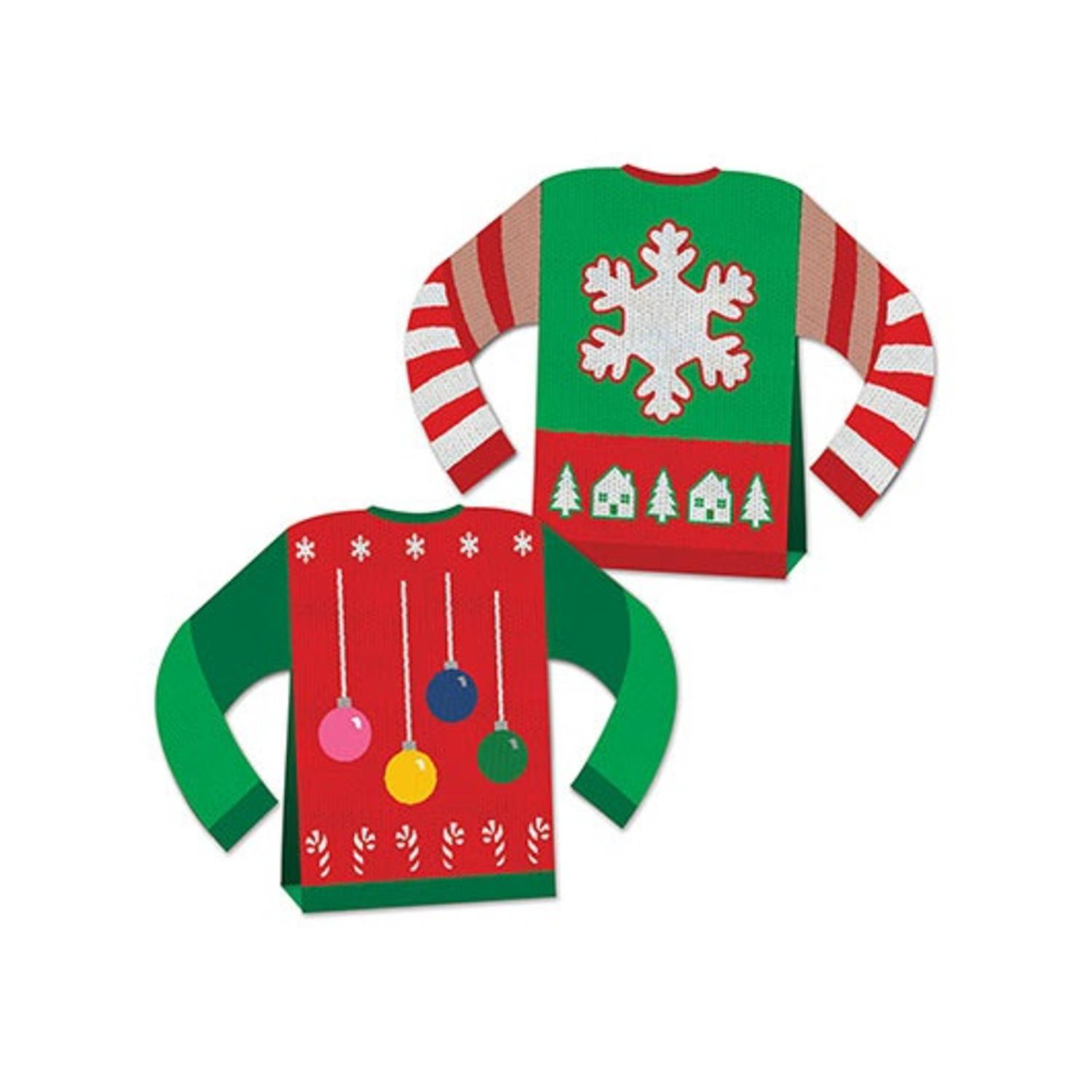 Pack of 12 3-D Ugly Sweater Centerpiece Christmas Table Decorations 8""