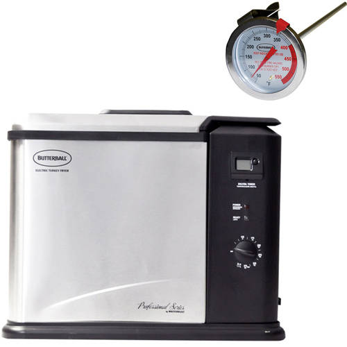 Butterball Digital Electric XL Turkey Fryer, Stainless Steel (23011114) with BONUS Thermometer