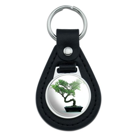 Bonsai Tree Black Leather Keychain