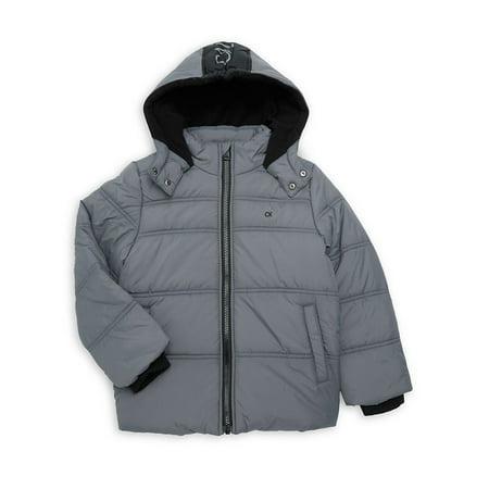 Little Boy's Logo Hood Puffer Coat Arizona Denim Jacket