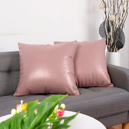 Pack of 2,Square Faux Leather PU Pillow Case Cover Sofa Couch Square Throw Cushion Cover, 18