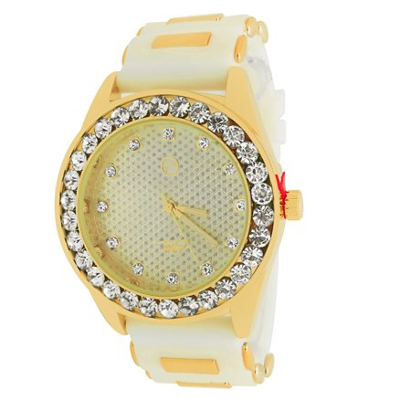 Techno Pave Iced Out Bling 14k Gold Plated 1 Row Big Stone Bezel White Bullet Band