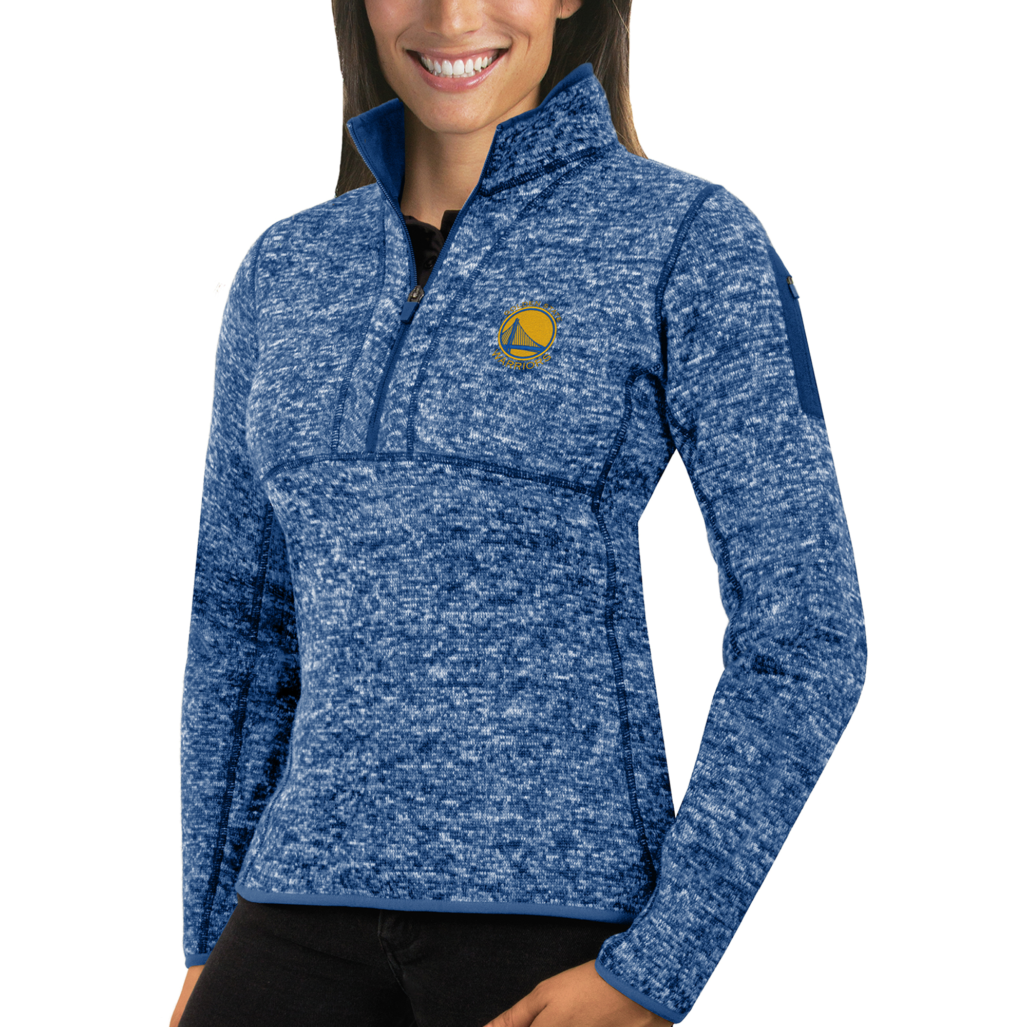 Golden State Warriors Antigua Women's Fortune Half-Zip Pullover Jacket - Heather Royal