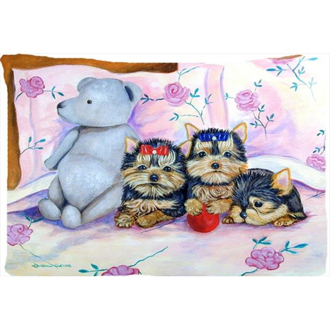 Carolines Treasures 7192PILLOWCASE 20.5 x 30 in. Yorkie Puppies Three In A Row Moisture Wicking Fabric Standard Pillowcase - image 1 de 1