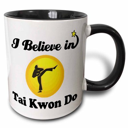 3dRose I Believe In Tai Kwon Do - Two Tone Black Mug, 11-ounce ()