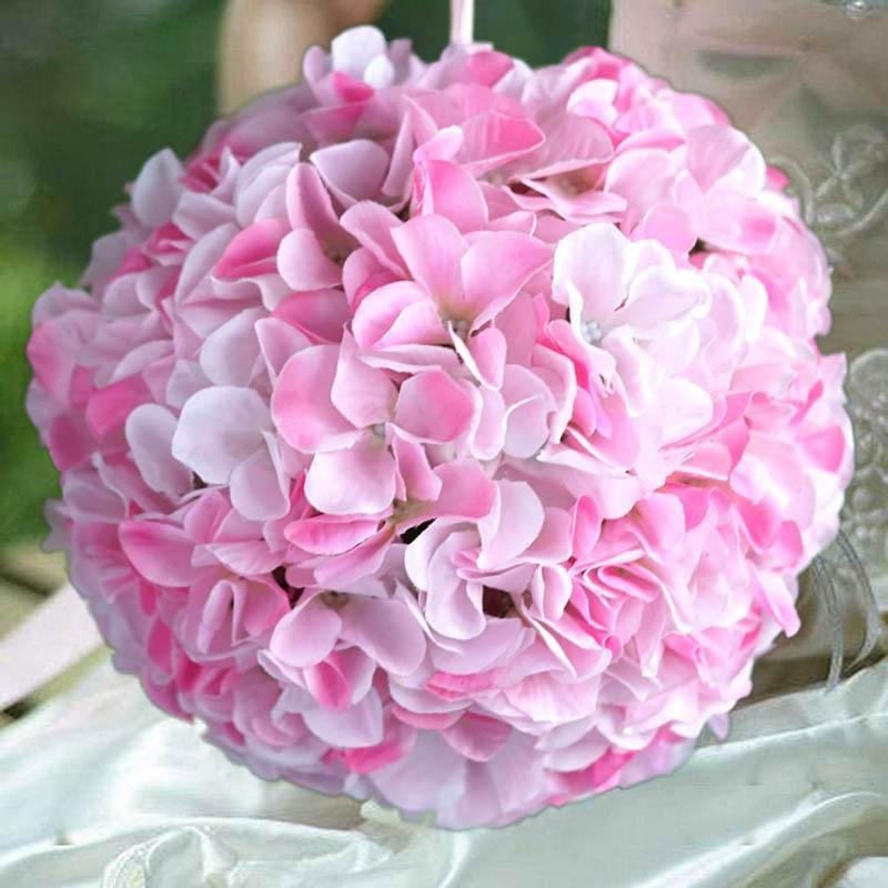 BalsaCircle 4 pcs 7-Inch Hydrangea Kissing Flower Balls - Artificial Flowers Wedding Party Centerpieces Arrangements Bouquets