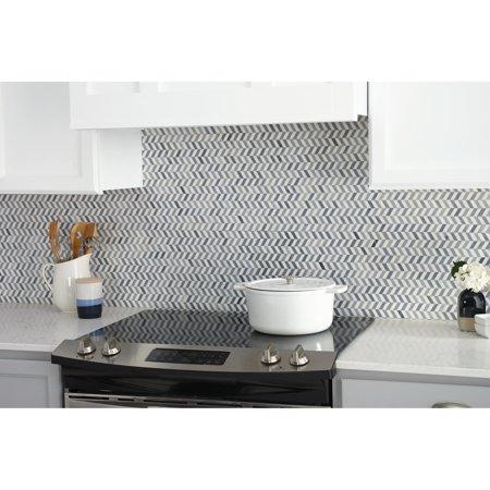 Tilish Natural Stone Marble White and Grey Transitional Chevron Polished Mosaic