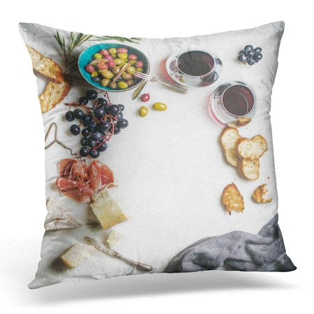 CMFUN Wine and Snack Variety of Cheese Olives in Ceramic Bowl Prosciutto Roasted Baguette Slices Black Grapes Pillow Case Pillow Cover 20x20