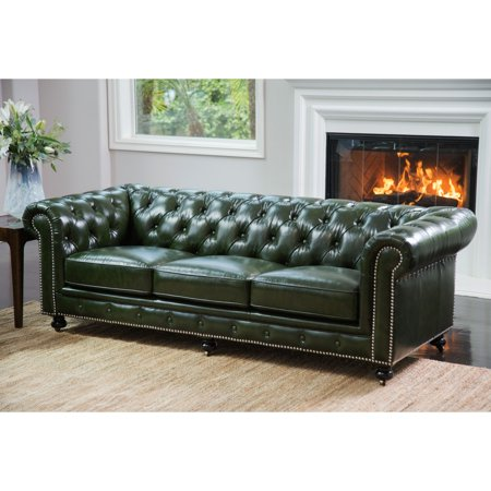 Abbyson Xavier Top Grain Waxed Leather Chesterfield