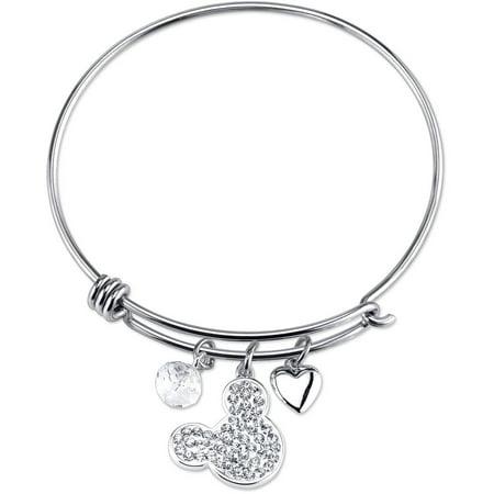 Disney Stainless Steel I Love Crystal Bangle Bracelet