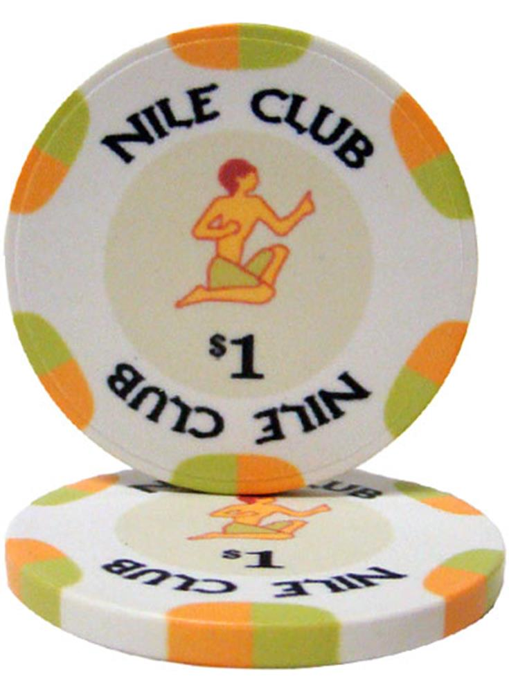 """Roll of 25 $1 Nile Club 10 Gram Ceramic Poker Chip"" by BryBelly"