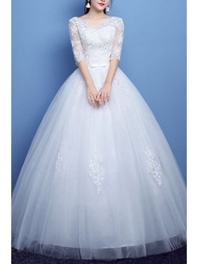 a0bdb5069a026a Product Image Women V-Neck 3 4 Sleeve Ball Gown Lace Dress. Unomatch