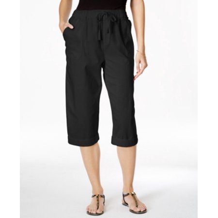 Karen Scott Women's Comfort Waist Deep Black Pants Size M ()