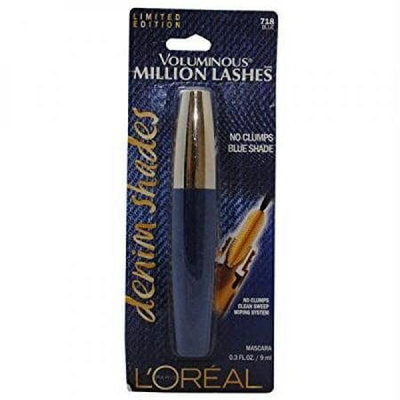 cd3dc9e0657 NEW Loreal Limited Edition Voluminous Million Lashes Denim Shades Mascara - 718  Blue - Walmart.com