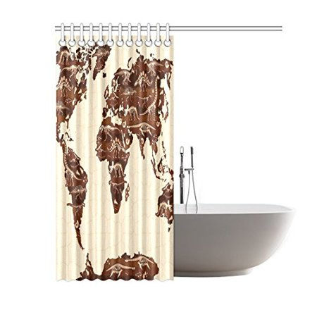 BSDHOME World Map Shower Curtain, Cartoon Dinosaurs Polyester Fabric Shower Curtain Bathroom Sets 60x72 Inches - image 2 of 3